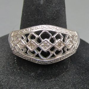 Sterling Silver Diamond Open Work Band Ring, Sz 9